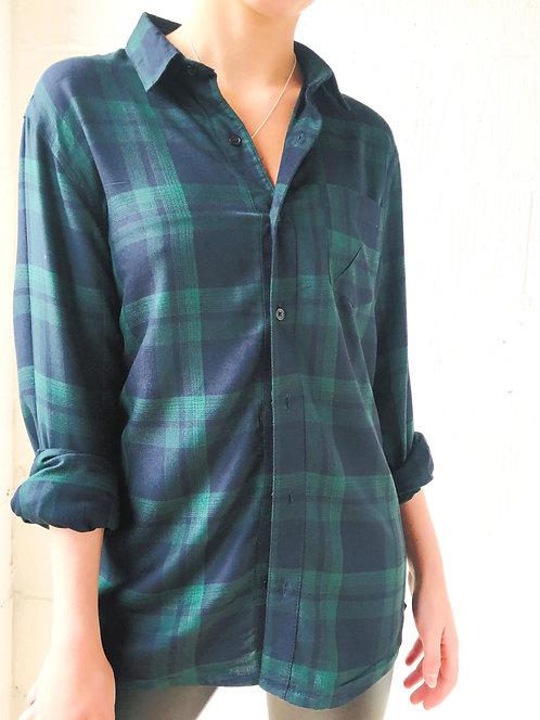 Navy/Green Check Flannelette Shirt