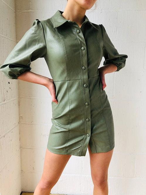 PU Khaki Mini Shirt Dress