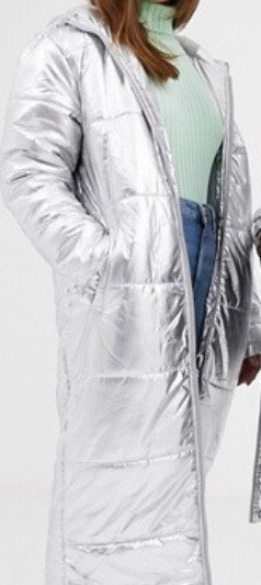 Long silver Puffa coat