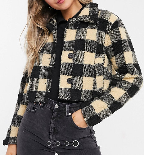 Checked Cropped Oversized Teddy Jkt