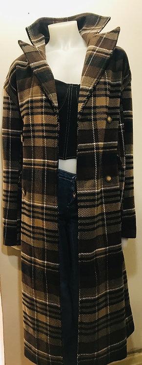 Long brown check coat