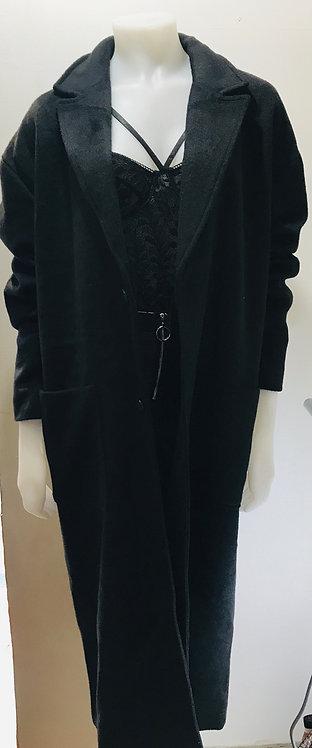 Black oversized maxi trench coat