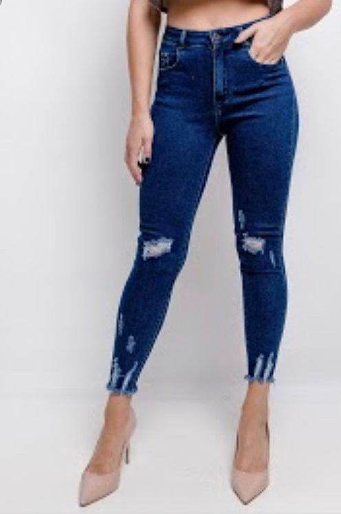 Blue wash skinny ripped jean