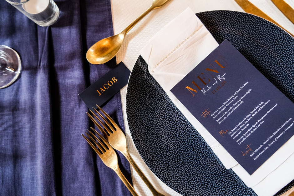 (image from Granary Estates Showcase, tableware CMA Hire, stationary The Luxe Paper Company)