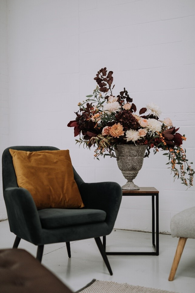Our Dudley armchair styled with fresh florals