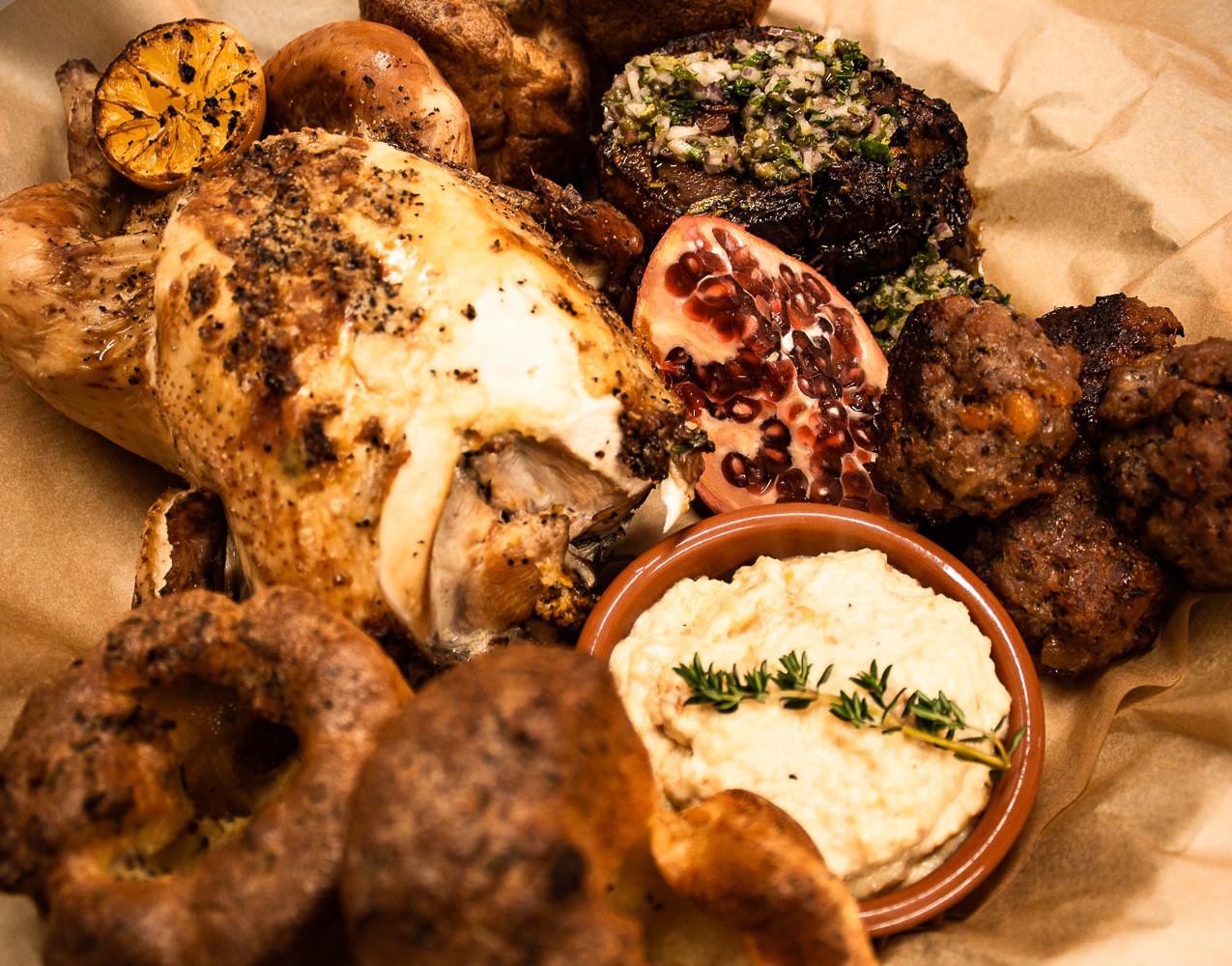 Roast Chicken Dinner, Moroccan Lamb
