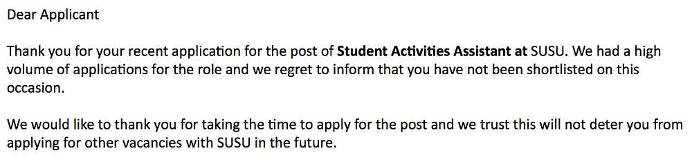 thank you for taking the time to apply for the post