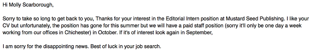 I like your CV but unfortunately