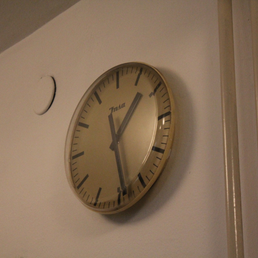 a clock at the national theatre