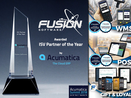 Evlocity's Fusion RMS receives Accumatica ISV 2017 partner of the year award.