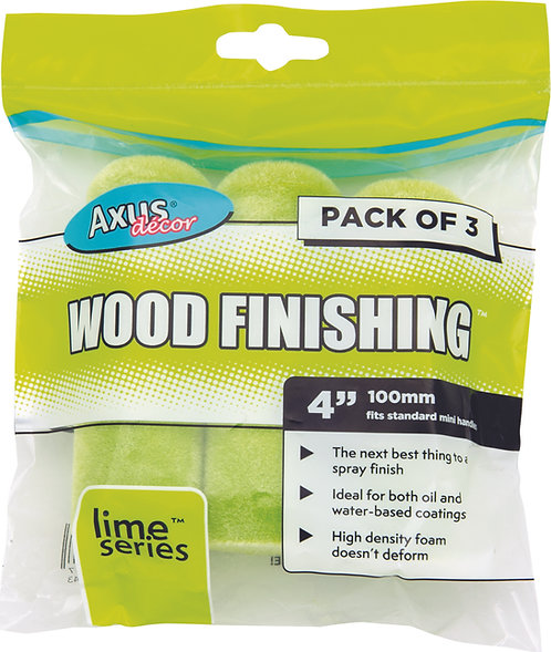Axus Wood Finishing Rollers 4in 3pk
