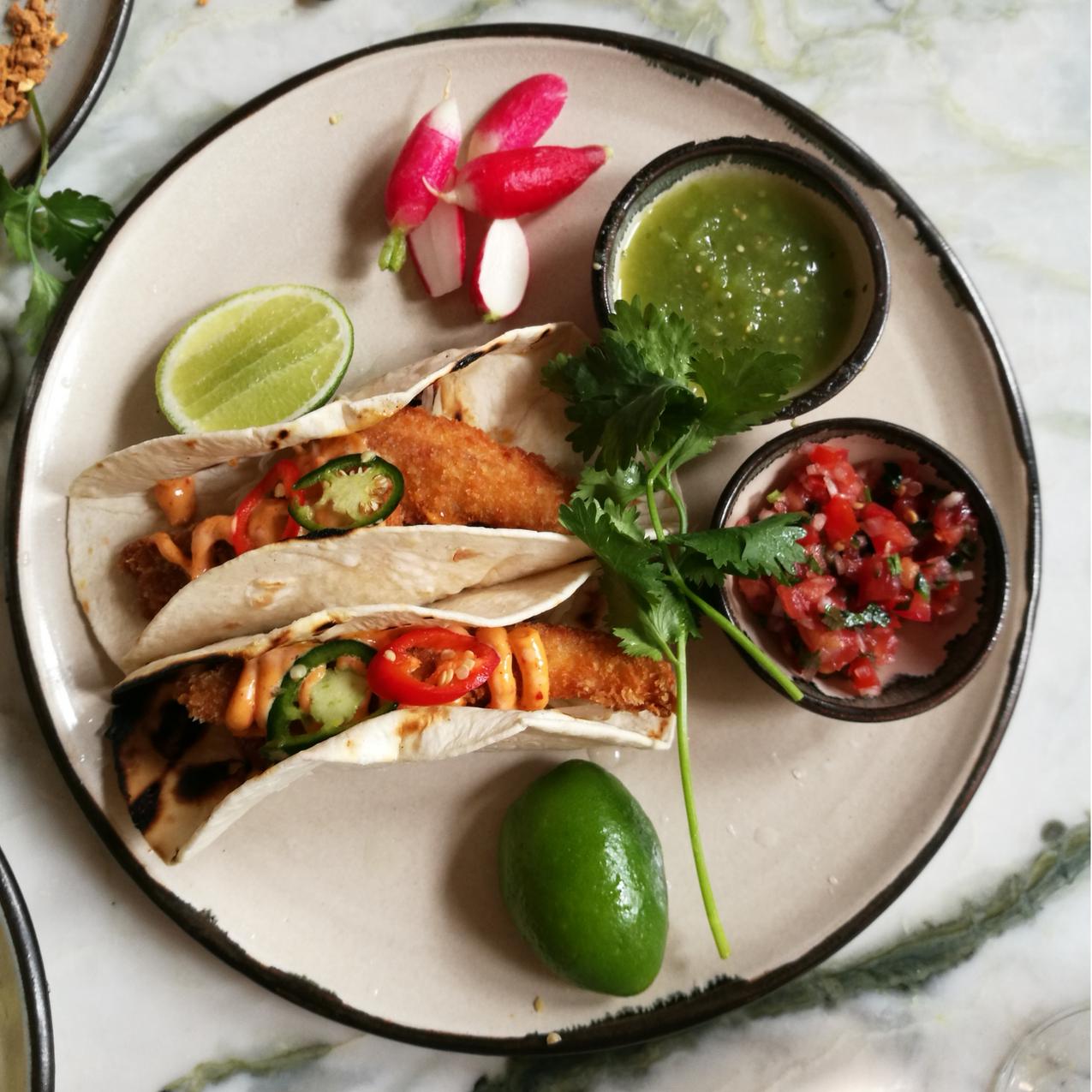 Sea bream taco, panko, green papaya,