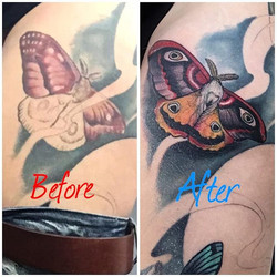 Fixup of an older tattoo on my leg done at my shop in Santa Cruz, CA.🌙Here's a before and after pic