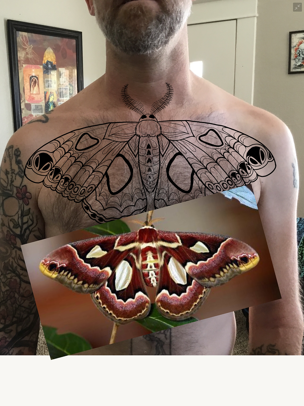 Ryan's chest piece mock-up with IPad