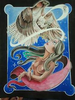 Woman and Hawk
