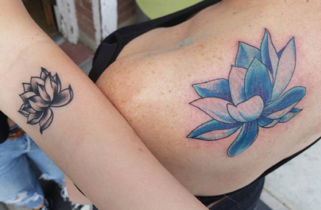 mom and daughter lotus tattoo