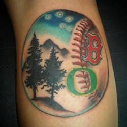 baseball collage tattoo