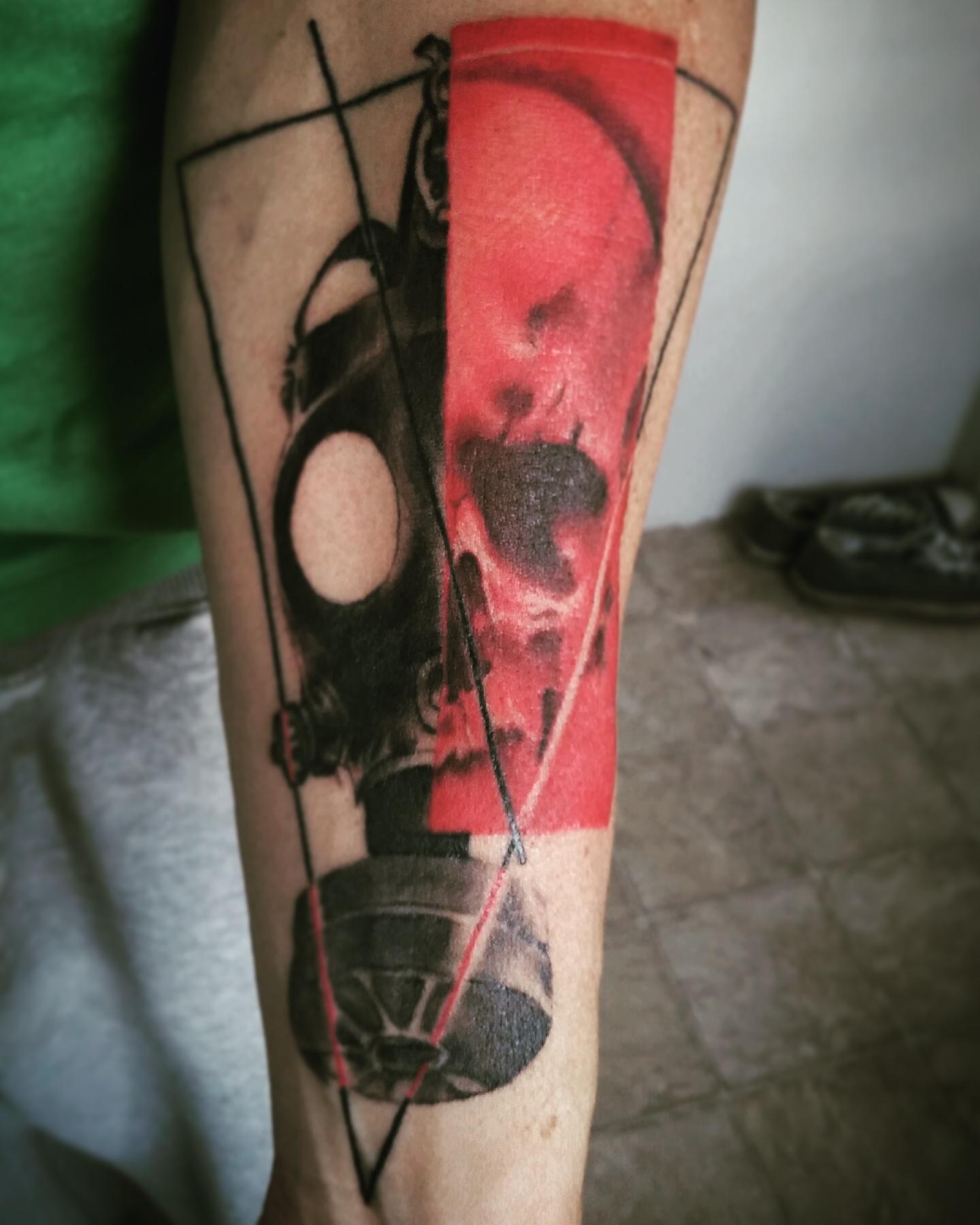 greg's gasmask tattoo