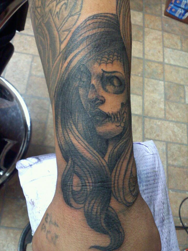 day of dead girlface tattoo