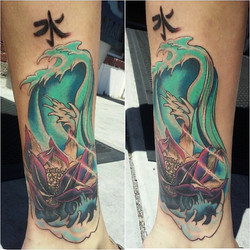 lotus waves coverup tattoo