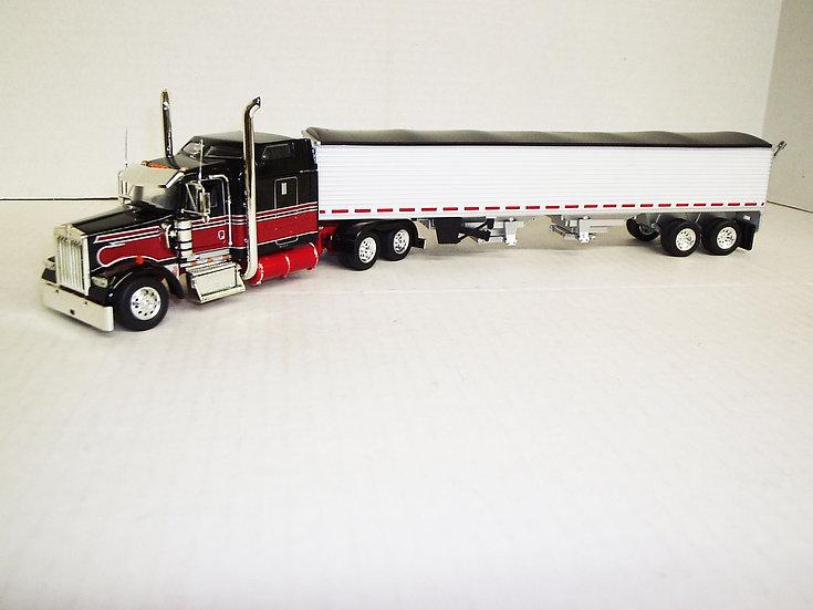 """1/53 Kenworth W900L W/ 72"""" Midroof Sleeper W/ Semi Grain Trailer, Black/Red"""