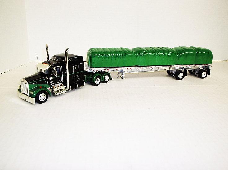 """1/53 Kenworth W900L W/ 72"""" Sleeper W/ 48' Spread Axle Flat, Black/Green"""