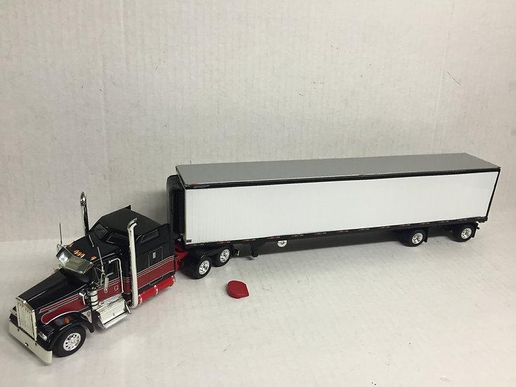 1/53 Kenworth W900L W/ Spread Axle Reefer Van, Black, Red W/ Silver Stripe