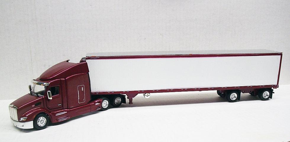 1/53 Peterbilt 579 W/ Spread Axle Reefer Van, Marron & White
