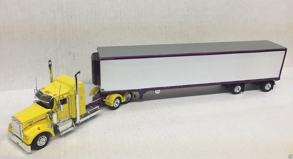 1/53 Kenworth W900L W/ Spread Axle Reefer Van, Yellow & Purple