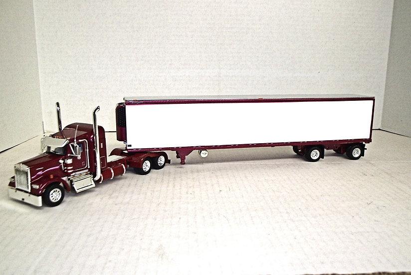 "1/53 Kenworth W900L w/ 38"" Sleeper w/ 53' Spread Axle Reefer"