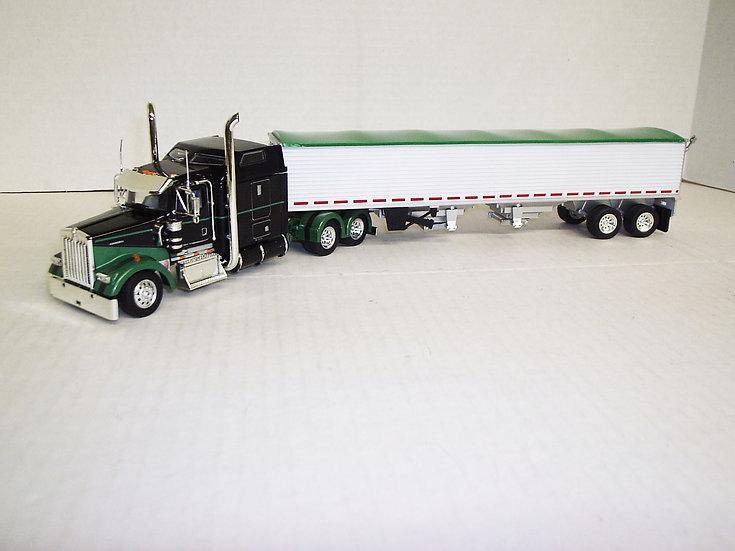 "1/53 Kenworth W900L W/ 72"" Sleeper W/ Semi Grain Trailer, Black/Green"