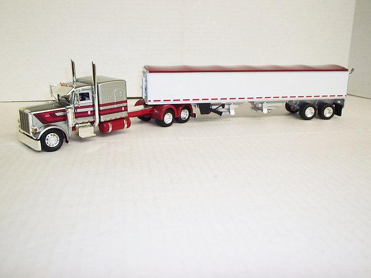 "1/53 Peterbilt 389 W/ 63""Flattop Sleeper W/ Semi Grain Trailer, Silver W/ Red"