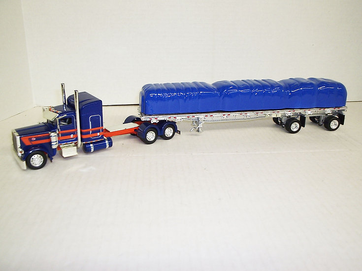 "1/53 Peterbilt 389 W/ 48"" Sleeper W/ 48' Spread Axle Flat, Blue/Orange"