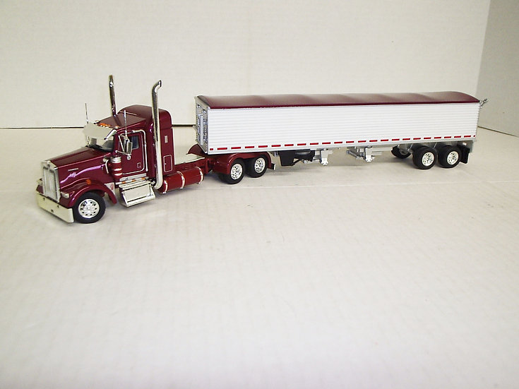 "1/53 Kenworth W900L W/ 38"" Sleeper W/ Semi Grain Trailer, Raspberry Red"