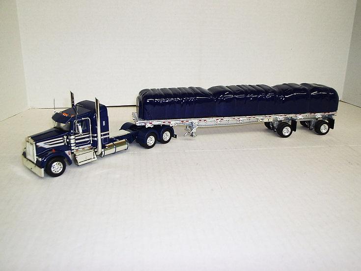 "1/53 Kenworth W900L W/ 38"" Sleeper W/ 48' Spread Axle Flat, Blue/Silver Stripe"