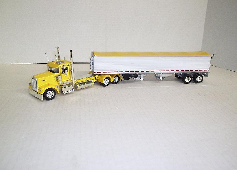 1/53 Kenworth W900L Daycab W/ Semi Grain Trailer, Yellow