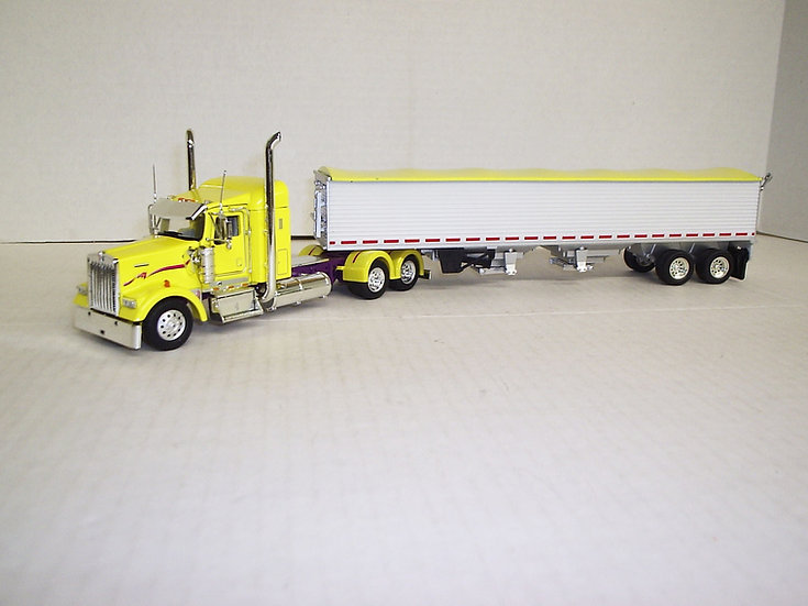 "1/53 Kenworth W900L W/ 38"" Sleeper W/ Semi Grain Trailer, Yellow"