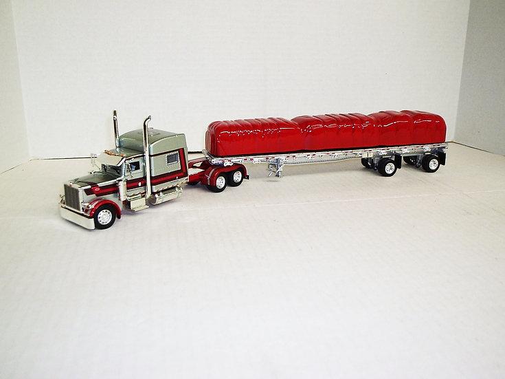 "1/53 Peterbilt 389 W/ 70"" Sleeper W/ 48' Spread Axle Flat, Silver Red/Drk Red"