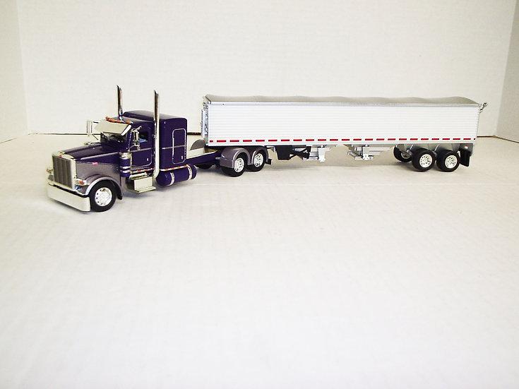 "1/53 Peterbilt 389 W/ 48"" Flattop Sleeper W/ Semi Grain Trailer, Silver/Purple"