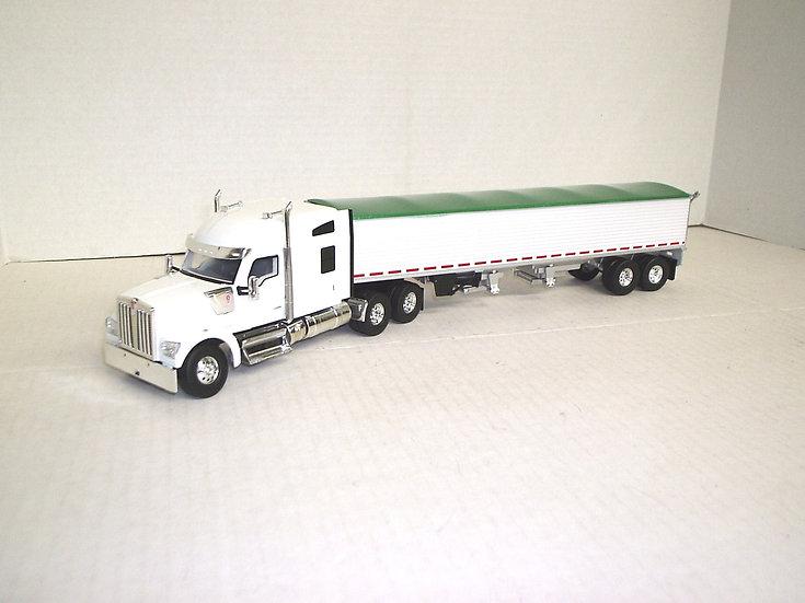 1/53 Kenworth W990 W/ Midroof Sleeper W/ Semi Grain Trailer, White