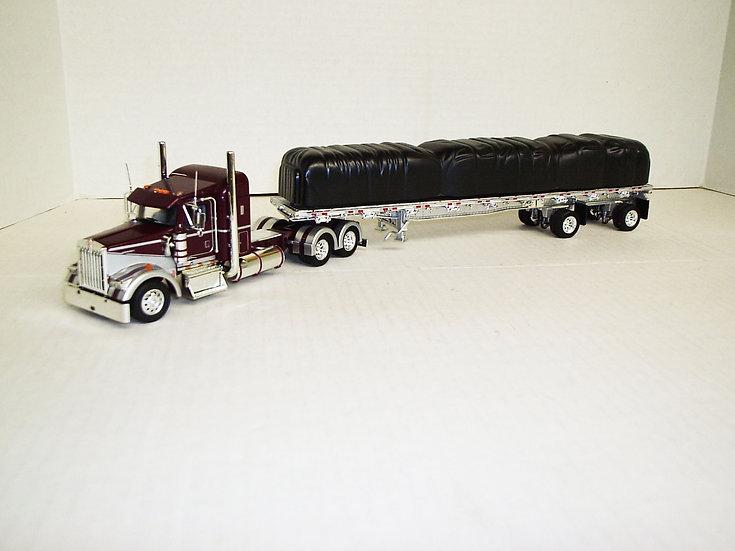 "1/53 Kenworth W900L W/ 38"" Sleeper W/ 48' Spread Axle Flat, Grape/Silver"