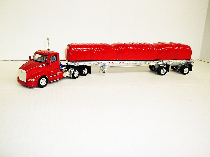 1/53 Kenworth T680 Daycab W/ 48' Spread Axle Flat, Viper Red