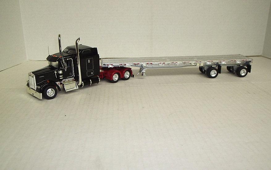 "1/53 Kenworth W900L 72"" Sleeper 48' Spread Axle Flat, Black/Red Frame"