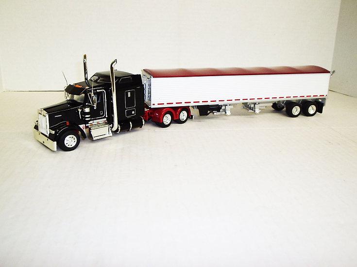"""1/53 Kenworth W900L W/ 72"""" Sleeper W/ Grain Hopper, Blk/Red"""