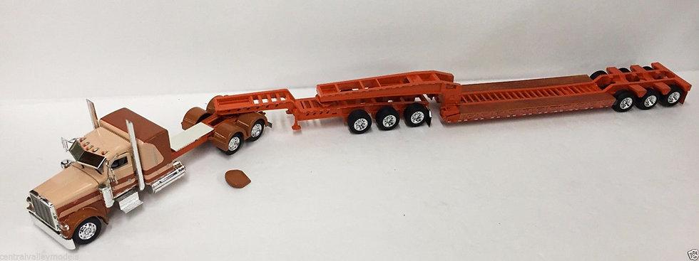 1/53 Peterbilt W/ 3 Axle Jeep & 3 Axle Lowboy, Cream, Butterscotch & Orange