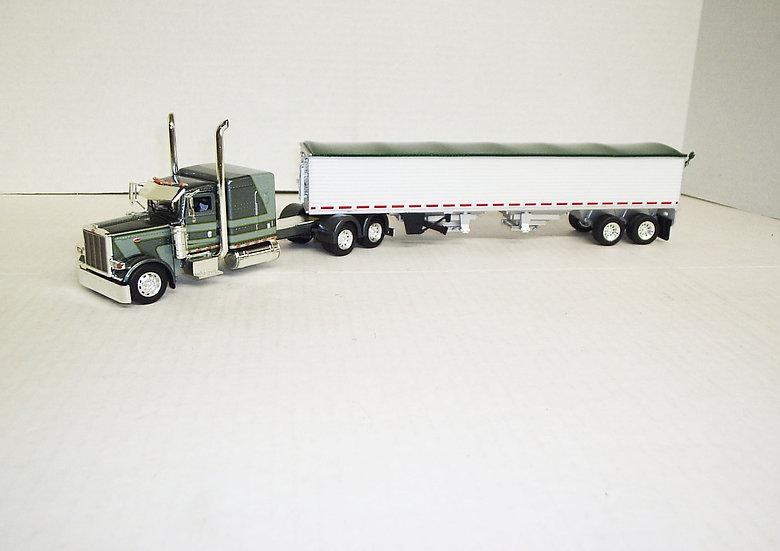"1/53 Peterbilt 389 W/ 63"" Flattop Sleeper W/ Semi Grain Trailer Gray/Green"