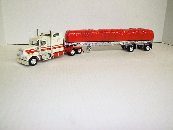 """1/53 Kenworth W900L W/ 72"""" Sleeper W/ 48' Spread Axle Flat, Cream/Org"""
