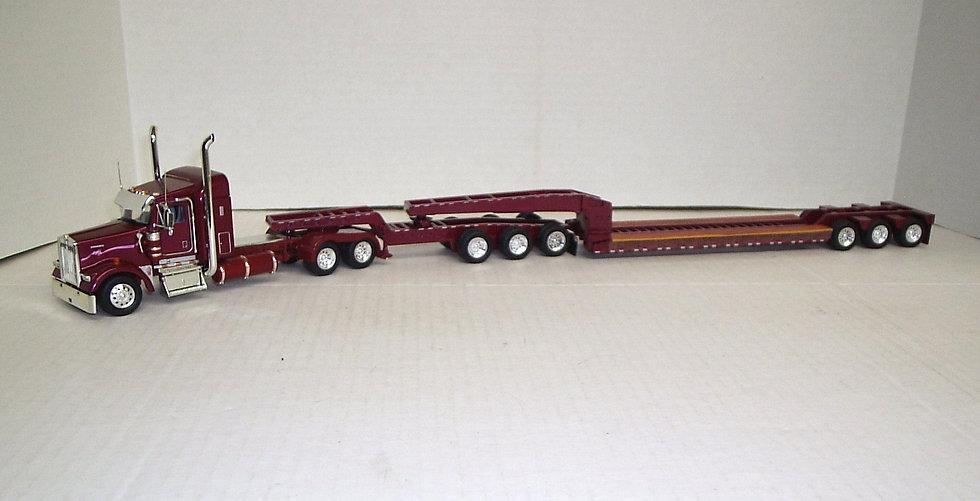 "1/53 Kenworth W900L 38"" Sleeper 3 Axle Jeep & 3 Axle Lowboy, Drk Maroon/Pink"