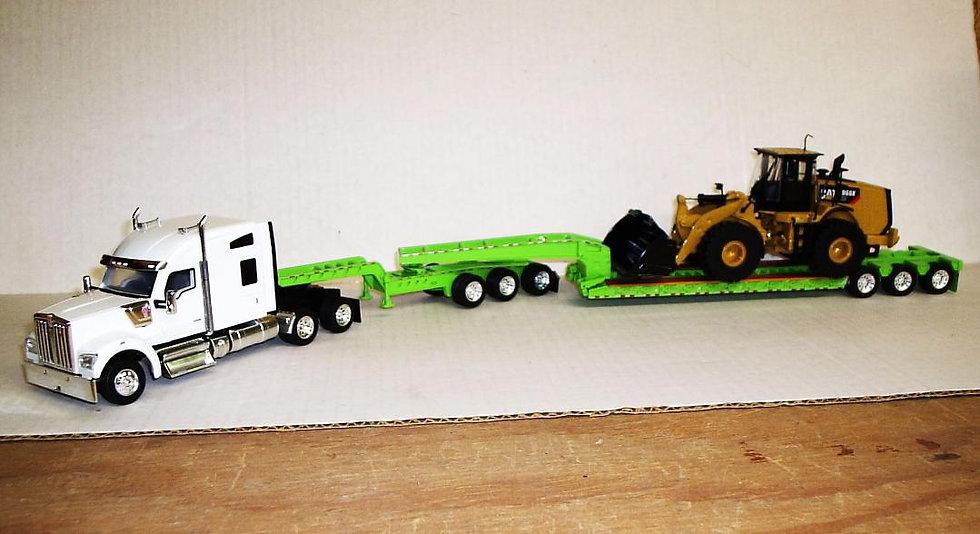 1/50 Kenworth W990 Sleeper W/ 3 Axle Jeep 3 Axle Lowboy, Lime Green