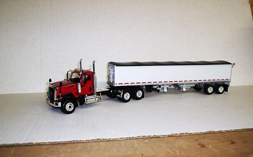 1/50 CT680 Cat Truck Daycab (Red) W/ Semi Grain Trailer (White)